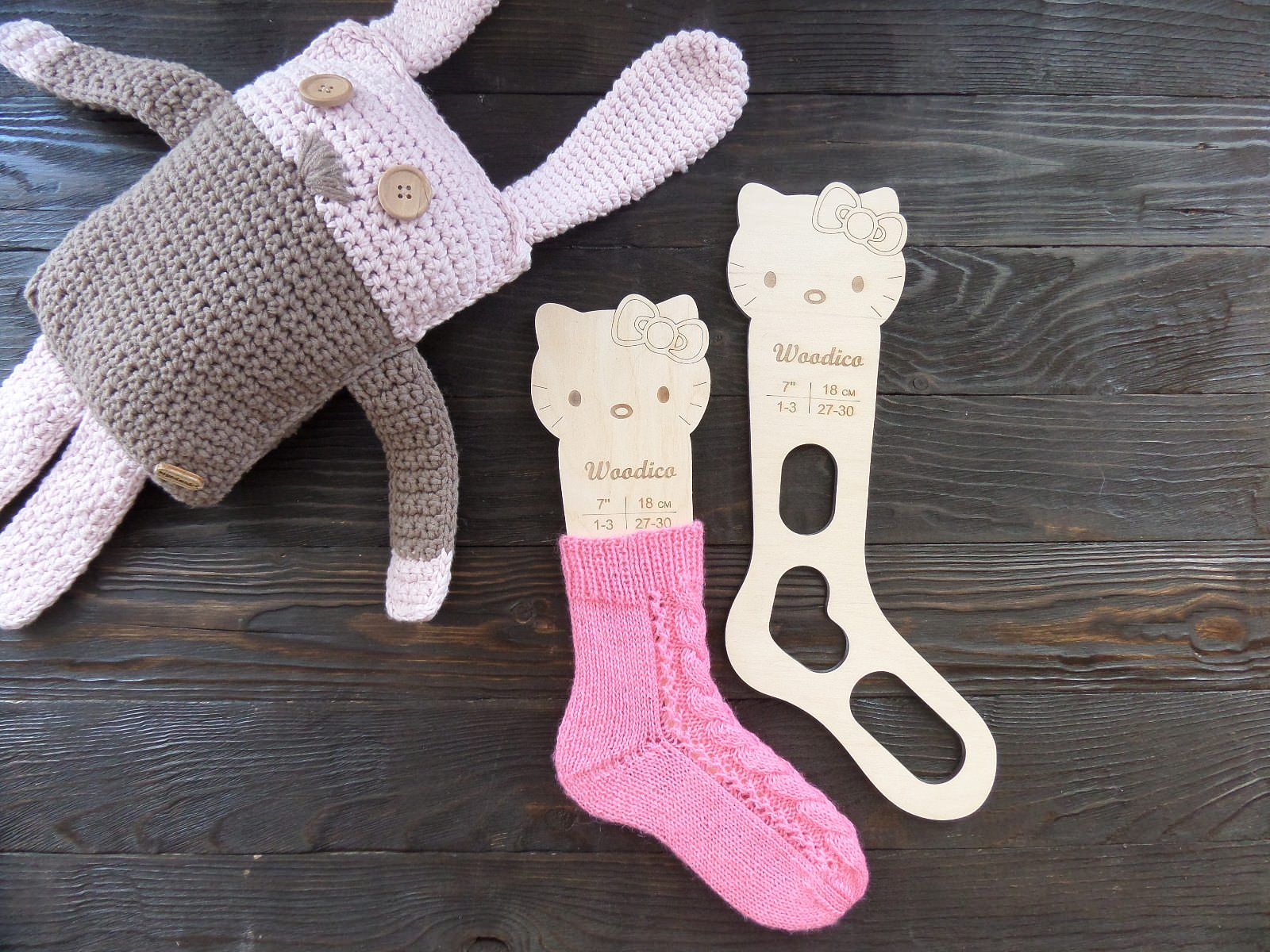 Wooden baby sock blockers Kitty