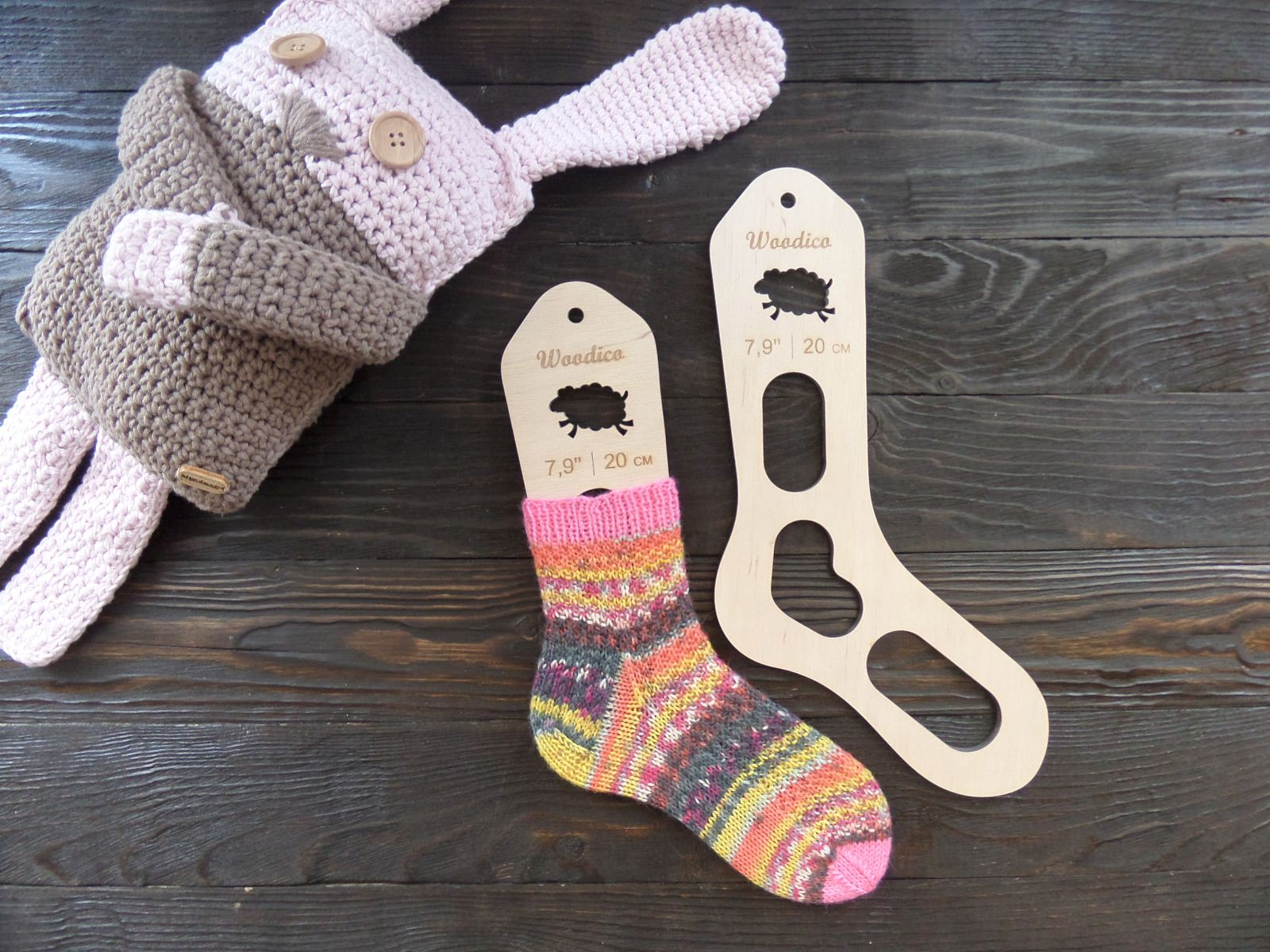 Wooden baby sock blockers Sheep