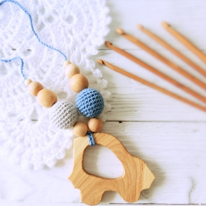 Nursing/teething necklace with wooden toy / 006 / Car - woodico.pro 46 300x300