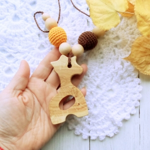 Nursing/teething necklace with wooden toy / 013 / Giraffe - woodico.pro 70 300x300