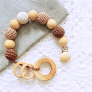 Nursing/teething necklace with clip and toy / 038 / Ring - woodico.pro 17 300x300