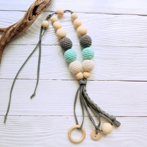 New products in shop - Nursing/teething necklace with tassel - woodico.pro nursing teething necklace with tassel 047 aqua grey 300x300