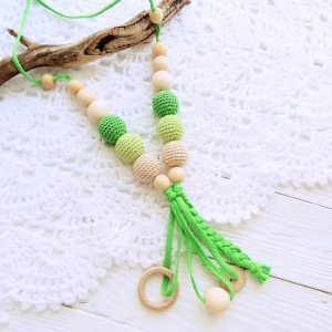 New products in shop - Nursing/teething necklace with tassel - woodico.pro nursing teething necklace with tassel 047 green 300x300