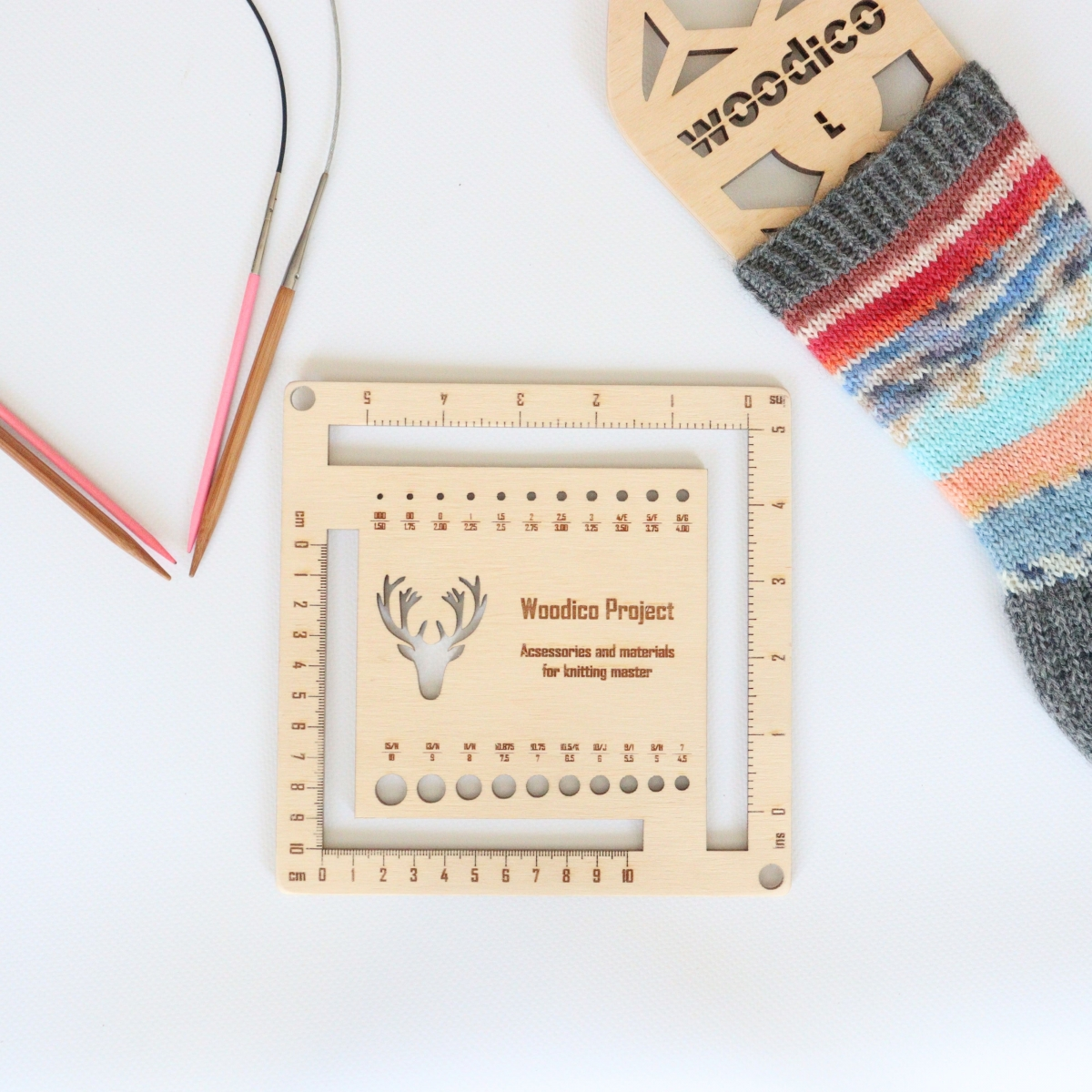 woodico.pro knitmetr 1 1200x1200 - Knitting needle gauge and ruler / Knitmetr