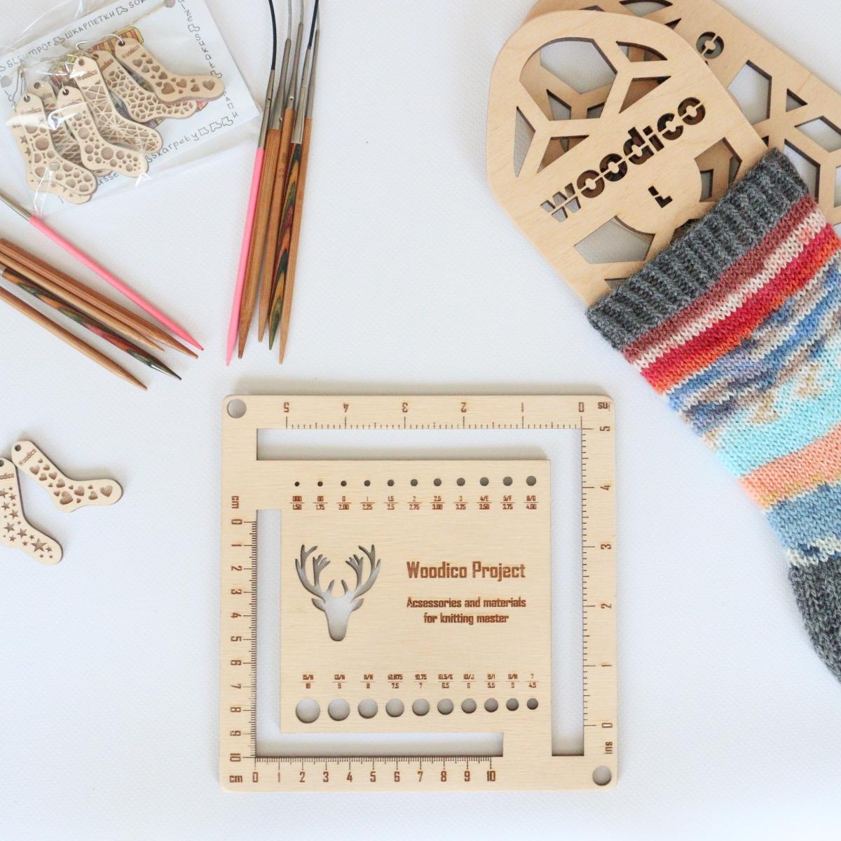 woodico.pro knitmetr 2 1200x1200 - Knitting needle gauge and ruler / Knitmetr