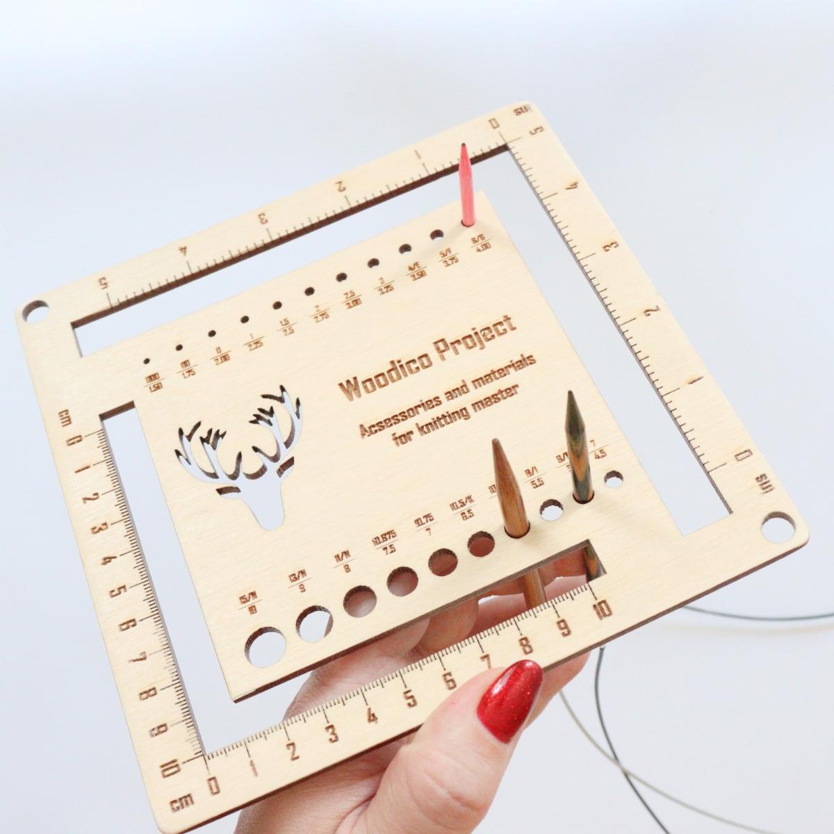 woodico.pro knitmetr 5 1200x1200 - Knitting needle gauge and ruler / Knitmetr